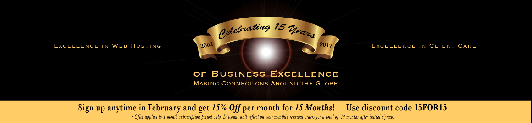 15 Year Anniversary Promo - Get 15% Off for 15 Months!